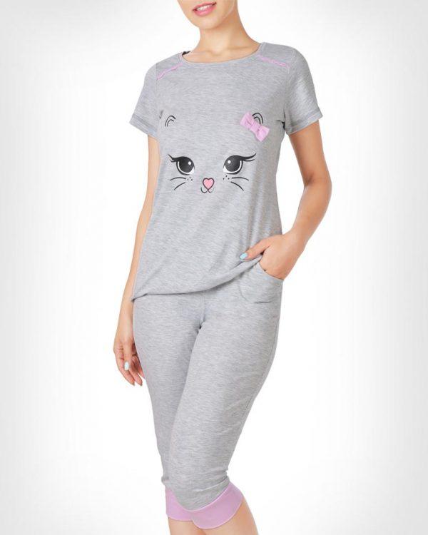 تیشرت و شلوار برمودا گربه پاپیون زنانه